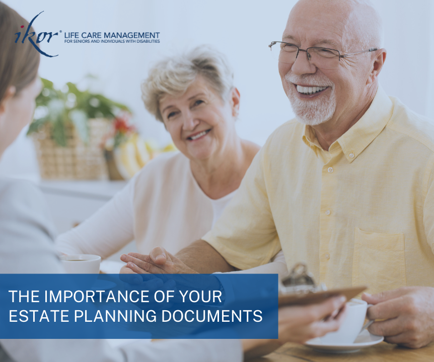Elderly couple reviewing estate planning documents